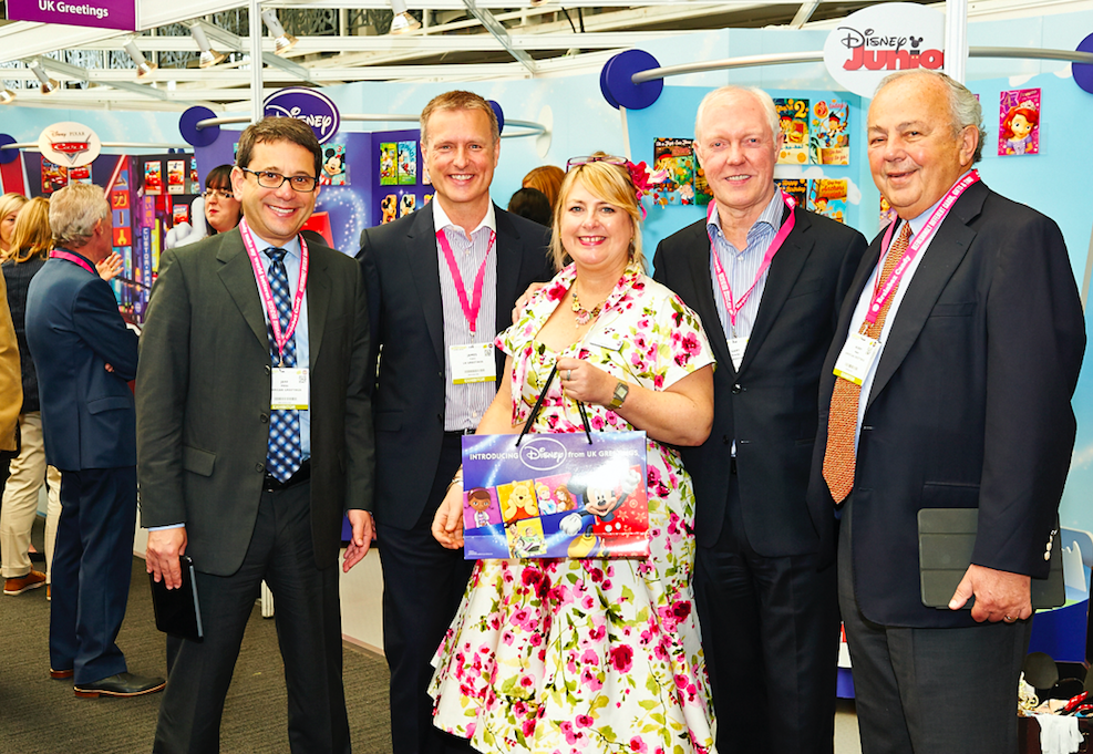 American Greetings' chairman Morry Weiss (far right) with his son Jeff Weiss, co-chief executive (far left), UKG's soon to retire chief executive Gary Rowley (second right) and incumbent ceo James Conn with PG's Jakki Brown at PG Live.