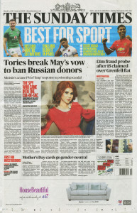 The Sunday Times featured the story at the bottom of the front page on last Sunday's edition, published on Mother's Day.