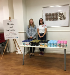 Rachel Wood and Liz Ramsden (both from UKG's private label team) sold reusable thermos cups at the Yorkshire publisher's premises last Friday as part of its #plasticfreefriday campaign.