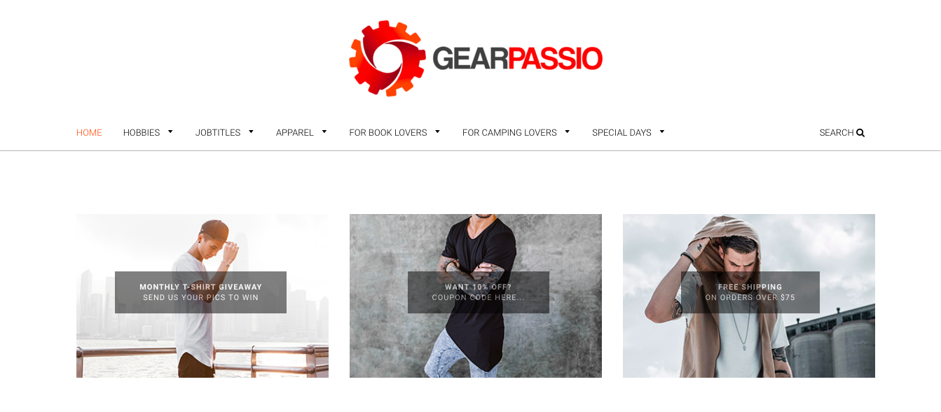 The homepage of the Gearpassio website which states it has been trading for a year.