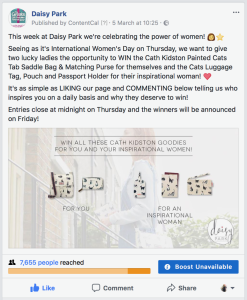 Daisy Park promoted its International Women's Day competition on social media.