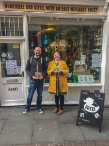 Ian Pose and Heidi Hargreaves from Dukki Gifts in Nottingham with some of the cards.
