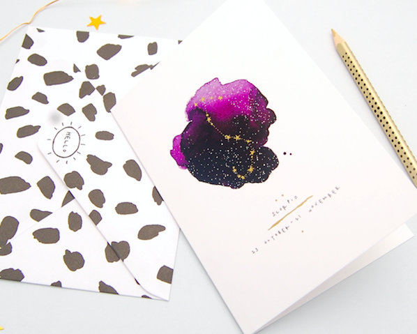 With tiny gold foiled stars, a Zodiac design from Blank Inside.