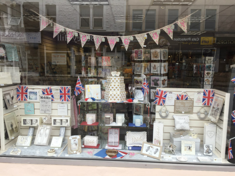 Romantica's window in Bristol kitted out for the wedding season ahead.