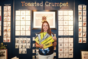 Toasted Crumpet's Jo Clarke and her many gold and silver tickets spent on her stand last year.