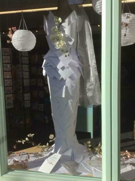 This wedding dress in Sweet Autumn in Buckingham is made entirely out of Cherry Orchard envelopes!