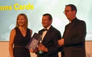 Mantons Cards just won the bira Retail Team of the Year Awards, with Chris Beards (centre) accepting the award on behalf of the team.