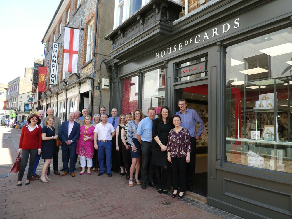 Representatives from Paperlink, Cardgains, Tracks, Joe Davies, Pigment, The Imaging Centre, PG, Xpressions, Unique, GBCC, Nigel Quiney, WPL Gifts and Paul Lammond were among those who attended last Thursday's official reopening of House of Cards' Wallingford new look flagship.