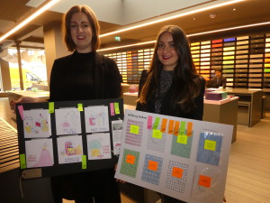 (Left-right) Paperchase's senior buyer for cards and wrap Hazel Walker with the winning entry and Emma Clooney, Paperchase card buyer with the second prize winning entry.