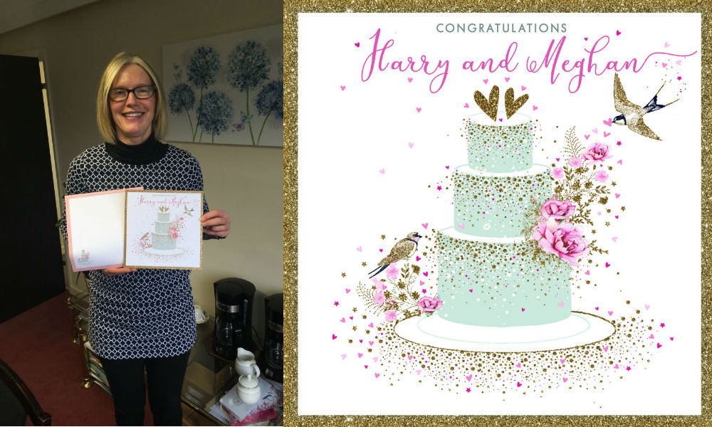 Alison Butterworth, md of Nigel Quiney with the card the studio has created.