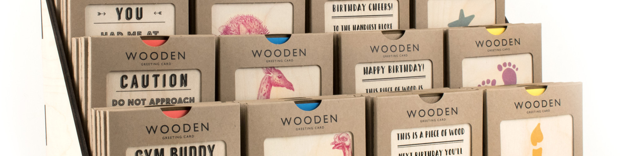 The new packaging for Coulson Macleod's wooden card range in the bespoke PoS unit.
