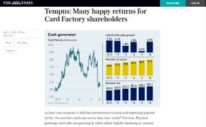 The article in The Times appearing in the newspaper and online advising buying Card Factory shares.