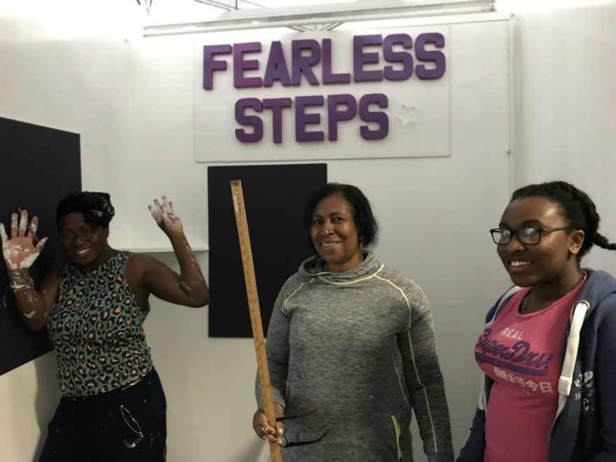 Prepared to get their hands dirty…Fearless Steps' Cheryl, Marlene and Nicolle.