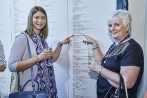 Fiona (right) and Victoria Robinson find Wishes on the Wall of Fame.