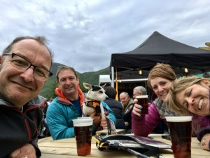 Ian Bradley, Andy Bradley (with Mollie the dog), Didi Hill and Lorraine Bradley take in a well-earned pint at the end of the 10 in 10 challenge