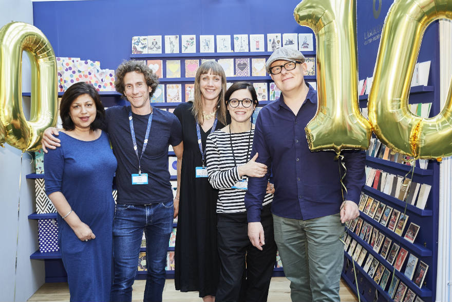 Lagom Design celebrated its 10th anniversary at the show in lots of ways! (Right-left) Lagom's Kelly Hyatt, Paula Mearns, Holly Northcott, Howard Gregory (agent) and Shivraj Idoine.