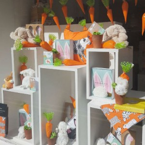 Easter window display at Raffia in Clitheroe