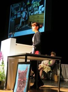 Rose speaking to WI members. Image: Betty Furner