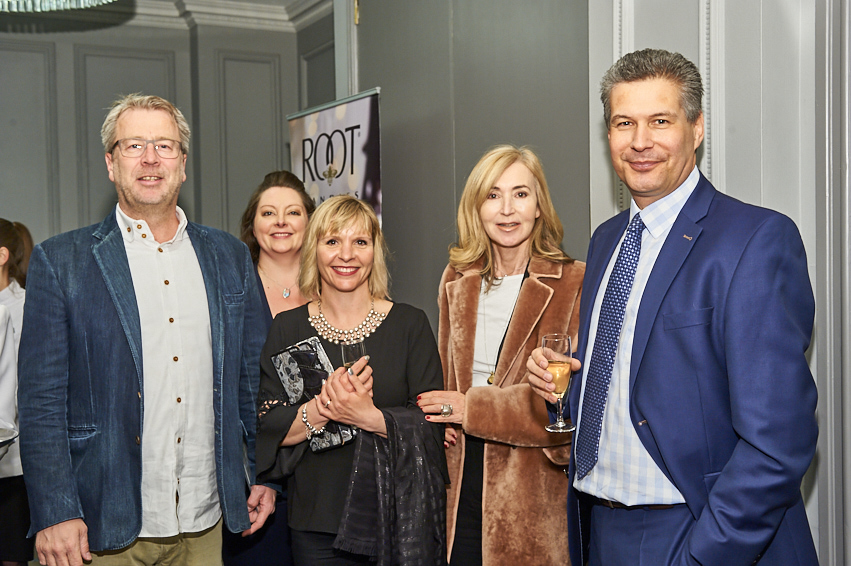 Hammond Gower's Nicci Hammond (second right) and Andrew Ashby (left) catch up with Between The Lines' Florian Kleinlercher, Beth Puttock and Teri Clapp.