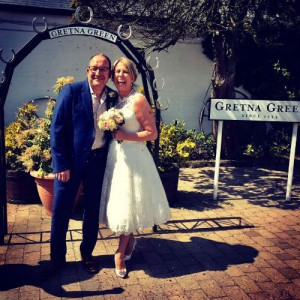 Lorraine and Ian on their wedding day at Gretna Green