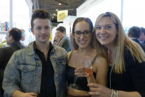 Tache's Frank Nicholls with his business partner and fiancee Pennie Bryant (centre) at a PG drinks party at Spring Fair with National Stationery Show's Kelly Bristol.