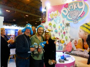 CBG's Paul Haines, Steve Mort-Hill and Carole Kavanagh on the CBG stand at Spring Fair which marked the trade launch of the new sub-brand, My Dinky Bear.