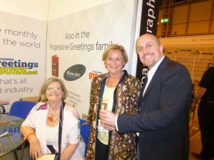 Lynn Tait (left) with Jenny Cummins of McMillan Cards enjoying post show drinks on the PG stand at Spring Fair with Furio Ceciliato of Origamo, Italy.