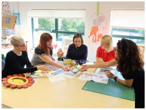 The Paper Rose team at work: Kate Vines, Jojo Norris, Philippa Phipps, Tilly Pugh and Kamila Gawlowska