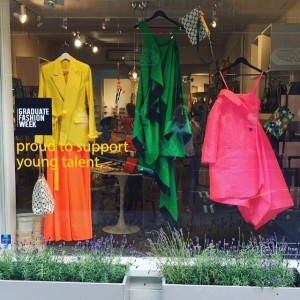 Future fashion star Chloe Menzies designed the window for Caroline Gardner's recent press launch