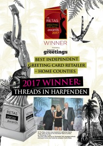 Threads had this poster specially designed after winning the Best Independent Greeting Card Retailer in the Home Counties