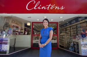Dominique Schurman outside the first 'new look' Clintons store (in London's St Paul's) that she spearheaded as soon as AG took the chain over in 2012.