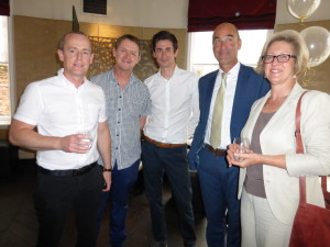 Above: Grant Gibson (left) with fellow agents (right-left) Karen Ford, Andy Fletcher and (second left) Adam Lawrane as well as retailer Mark Janson-Smith (Postmark) at The Art File's recent Queen's Award presentation.