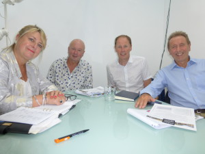 (Left-right) Nigel Green of Eight Days a Week and Michael Rose of Rose Calendars, two of The Calies headline sponsors with PG's Warren Lomax and Jakki Brown at planning meeting about The Calies.
