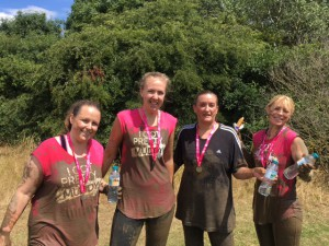 Above: Some of the Windles women who got dirty for charity! (left-right) Ceri Headley, Lyndsey King, Claire Adams and Amanda Miller.
