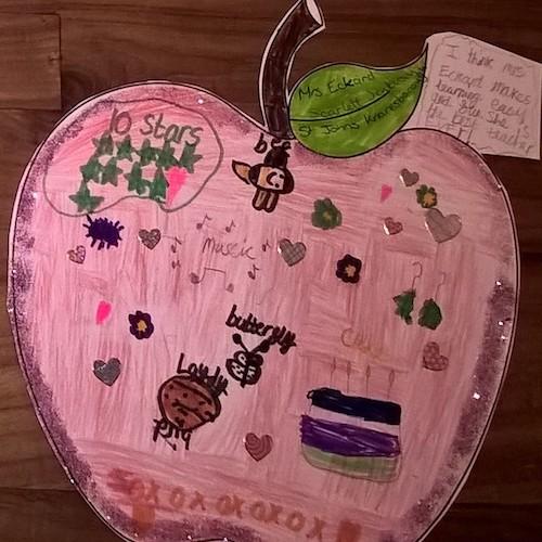 Scarlett Jenkinson's winning entry which celebrated her teacher Mrs Eckard.