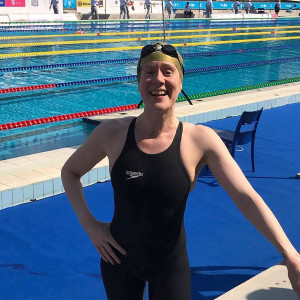 Above: Kate Vines at the pool in Budapest last week where she competed in the FINA World Aquatic Masters Championships.
