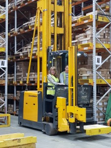 Sentiments' Jayne Griffiths added to her skillset, by taking a turn at the controls of a forklift!