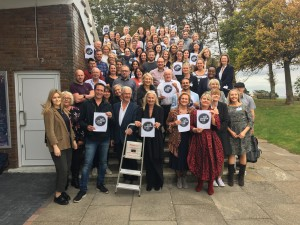 Scribbler's co-founder John and Jennie Procter in front centre spot surrounded by attendees and speakers of the second day Ladder Club seminar this week.