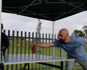 Croxley Press' Seth Woodmansterne playing table tennis.