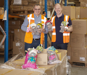 Carte Blanche's Ben Quance (head of independent sales) and Steve Chambers (fulfilment centre manager) packing the first orders for Dinky.