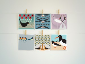 The distinctive artwork from I Like Birds will be available on cards from The Art File from December