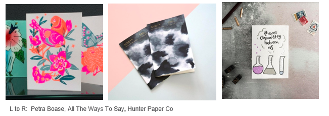 The winners of the PaperAwards (left-right Petra Boase, All The Ways To Say and Hunter Paper Co) as well as the finalists will be showcased at Top Drawer.