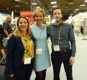 Cherry Orchard's md Jackie Collins (centre) with Wishes' Julia Keeling and Giftshop Hub's Chris Fox at the Autumn Fair at which she agreed to design a bunny for next year.