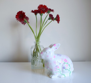 Cherry Blossom Bunny by Jessica Woodhouse Illustration., one of the bunnies in this year's Bunny Trail.