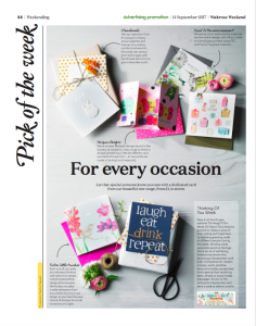 The page in Waitrose Weekend that fanfares ToYW and the new card selection.