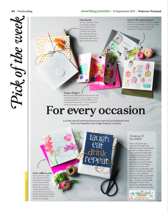 Waitrose weekend magazine fanfares its new card collection and toyw the page in waitrose weekend that fanfares toyw and the new card selection m4hsunfo
