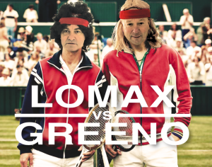 Parodying the poster for the new McEnroe v Borg film, Paperlink's Bill Greeno (left) and PG's Warren Lomax in McEnroe and Borg garb!