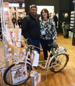 Rumit Shah, director of Cards Galore, with Portfolio's md Jayne Diggory at the Spring Fair.