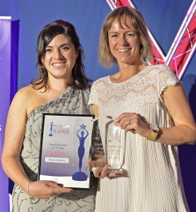 Rosie Harrison with her Small Business Award trophy.WITH VIDEO Women in Business Awards 2017 at the Leicester Tigers Ground. Small Business of the Year Award From left: Jennifer Thomas from the Federation of Small Business with winner, Rosie Harrison from Rosie Made a Thing.