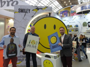 Moonpig's design director Geoff Sanderson (centre) with SmileyWorld's marketing director Matt Winton (left) and brand director Daniel McGeehan